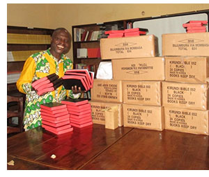 Receiving a consignment of Kirundi Bibles.