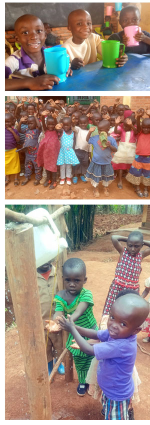 Children with their porridge, younger children with new shoes and the handwashing contraption.