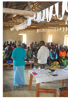 Ruth speaking at a marriage course in Rwanda.