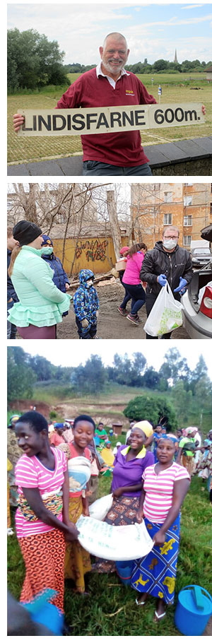 Richard on the Lindisfarne to Land's Emd walk, distribution of food and hygiene packs in Ekaterinburg and Rwanda