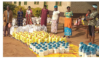 Distribution of food and hygiene packs
