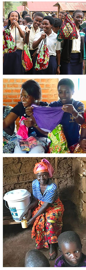 Girls at Star School with their packs, women in Cyangugu Diocese and a woman using a clean water filter in Rwanda