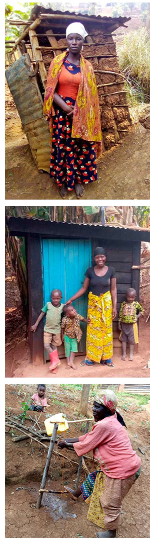 A woman standing in front of a poor condition toilet on Ishwa Island, a family standing in front of a new toilet and a woman using a foot operated handwashing facility