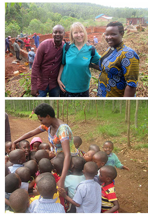 Kabahire pastor Berthe, project manager Wilber and Ruth at the site of the new school, and Enatha surrounded by some of the school children
