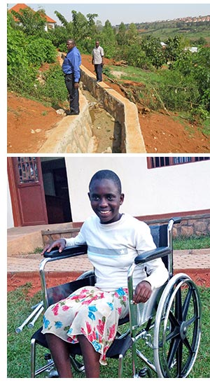New drainage at the Star School and Esther in her wheelchair