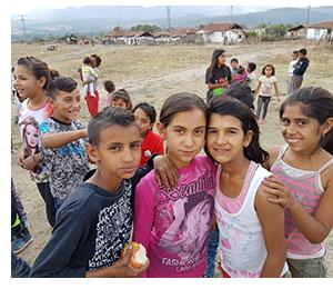Children in a Roma village
