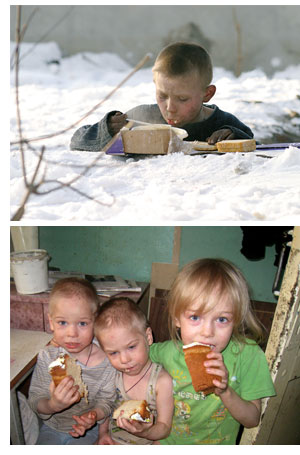 A child living on the streets, eating food in freezing temperatures and three young children eating cake