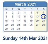 A calendar with Sunday 14th March highlighted